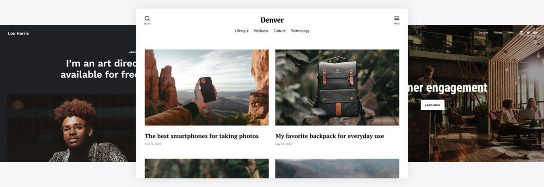 Screenshots of three different websites (personal, blog, artist) built with the Twenty Twenty-One theme and Twentig.