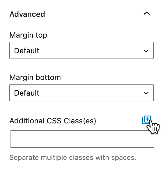 Screenshot of the Advanced panel showing how to open the Twentig CSS Library.