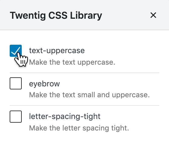 Screenshot of the Twentig CSS Library showing how to add a predefined class.