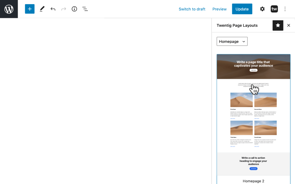 Screenshot of the block editor showing how to insert a page layout.