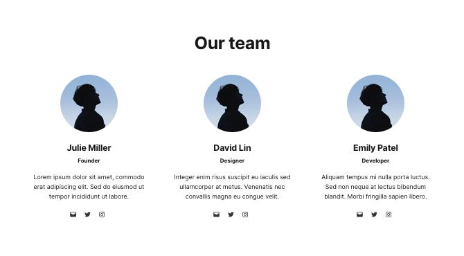 Screenshot of a block pattern featuring a team.