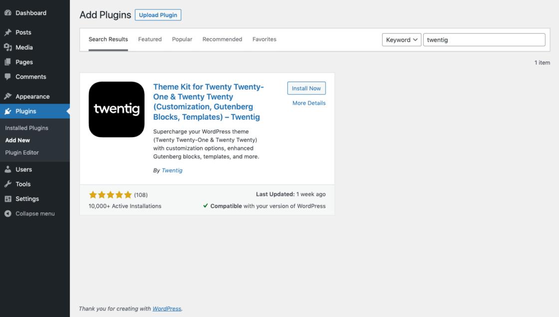 Screenshot of the WordPress dashboard showing where to install the Twentig plugin.